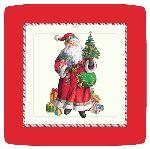 Caspari St Nick Ivory Square Paper Dinner Plates Wholesale 11400DP | Designer Print Plates | Christmas Paper Plates