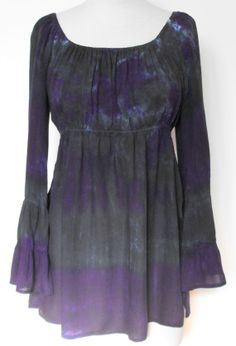 Tie Dye Tier Sleeve Peasant Tunic in Purple and Black. $32.00, via Etsy.