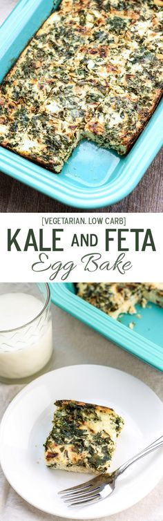 Super simple with just 6 main ingredients, this Kale and Feta Egg Bake is perfect for serving a crowd. Vegetarian and low carb!