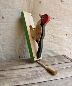 Vintage C. 1960s Woodpecker Door Knocker // Painted Wood // Folk Art