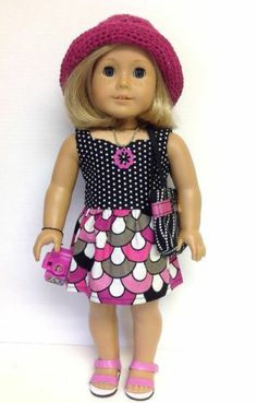 Clothes Fit American Girl Doll Dress Hat 4 Accessories Plus Hot Pink Sandals | eBay