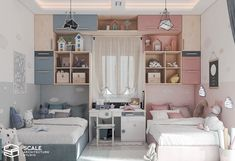 Girls Room Design, Kids Bedroom Designs, Room Design Bedroom, Room Ideas Bedroom, Home Room Design, Bedroom Décor, Room Decor, Bedroom Kids, Boy And Girl Shared Room