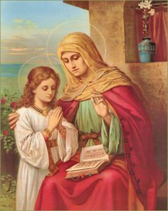 St. Anne, mother of the Blessed Virgin Mary. Her titles and symbols in art.