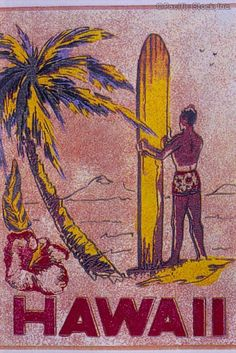 Photo of c.1950-1960 Tourist art, surfer and coconut tree, Hawaii