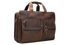 02f20f91f911 Briefcase For Men Handmade Genuine Leather Laptop Briefcase Suitcase  Attachment Bag DZ11