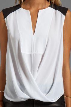 BCBGMAXAZRIA Split Front Color Block Top in White | REVOLVE