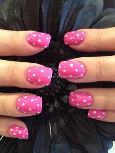 Pink and white freehand polka dots