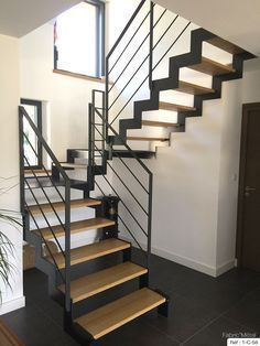 Manufacturing metal wood staircase modern staircase in Brittany Morbihan Fa