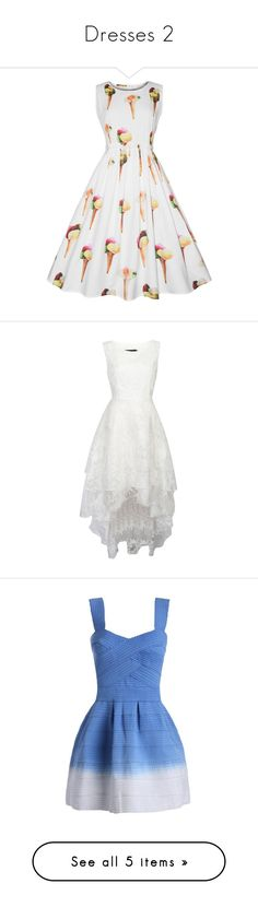 """""""Dresses 2"""" by brianapaige14 ❤ liked on Polyvore featuring dresses, cream dress, white print dress, white day dress, white dress, mixed print dress, wedding dresses, sweetheart neckline mini dress, sweet heart dress and blue sweetheart neckline dress"""