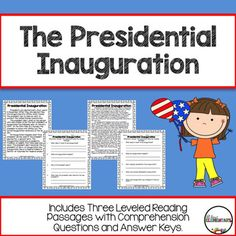 Presidential Inauguration {Reading Passages and Comprehension Questions} Kindergarten Lessons, Kindergarten Reading, Kindergarten Worksheets, Leveled Reading Passages, Reading Comprehension, Homeschool Curriculum, Homeschooling, 3rd Grade Social Studies, Presidential Inauguration