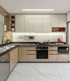 Modern Kitchen Interiors, Luxury Kitchen Design, Interior Design Kitchen, Diy Kitchen Cabinets, Kitchen Cabinet Design, Kitchen Decor, Kitchen Modular, Home Design Decor, Home Decor