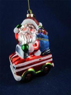 2012 Radko Sparkle Bright Christmas Santa in Car w/Gifts Glass Ornament NWT