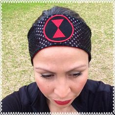 Black Widow Avengers running headband Sparkle Dot Fabric iron on patch 3 inches wide by ChickyBands on Etsy https://www.etsy.com/listing/200608559/black-widow-avengers-running-headband