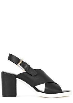 Miista matte black leather sandals