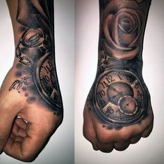 Hand Tattoo Of Pocket Watch And Roses On Man