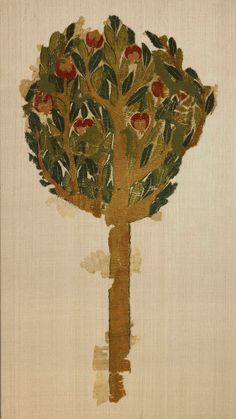 European Rare Fragment of Pomegranate Tree Coptic, Egypt, c. 4th-5th century AD Wool tapestry-weave 115 x 58.5 cm