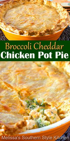 This cheesy Broccoli Cheddar Chicken Pot Pie is a fabulous twist on classic chicken pot pie #chickenpotpie #broccolicheddar #easychickenrecipes #chickenrecipes #broccolicheddarchicken #dinner #dinnerideas #southernfood #southernrecipes