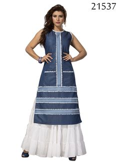 Look Like A Dream Wearing Blue Colored Kurti. Look Classy And Stylish In This Piece And Revel In The Comfort Of The Soft Denim Fabric. Pair It With Contrast Skirt And Sandals To Get Complimented For Your Classy Choice. Grab It Now. Blue Colored Demin Kurti.