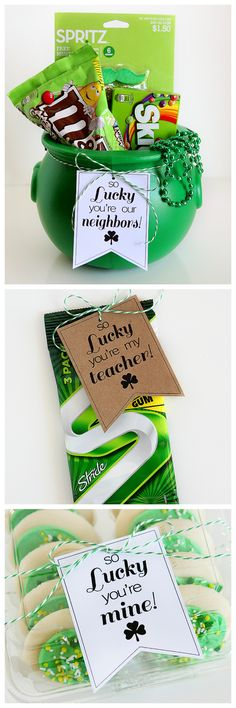 So Lucky St. Patrick's Day Printable Tags ~ So Lucky You're Our Neighbors, So Lucky You're Mine, So Lucky You're My Teacher and So Lucky You're My Friend