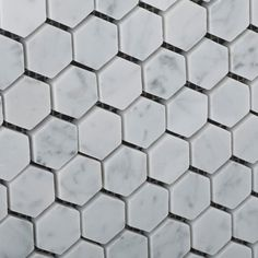 Bianco Carrara White Marble Honed Mini Hexagon Mosaic Tile - Lot of 50 sq. Hexagon Mosaic Tile, Mosaic Bathroom, Bathroom Flooring, Bathroom Renos, Basement Bathroom, Bathroom Ideas, Travertine Tile, Home Spa, Kitchen Fixtures
