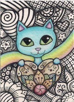 ACEO-Blue-Cat-Holding-Heart-Rainbow-Doodle-Design-Original-Art --- Winning bid: US $50.79 Approximately AU $63.34