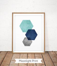 Aqua Blue Print bleu marine Art géométrique salle de bain