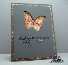 JENerally Speaking: Negative Butterfly- great idea to use with very busy patterned paper