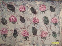 Hatip gül ebru (Painting) Songül Sönmez tarafından Marbled flowers