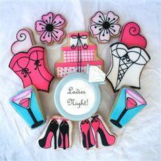 High Heel Cookies, Bustier Cookies, Gift Box Cookies, Bachelorette Cookies