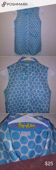 Boden Light Blue Polka Dot Top EUC. Super cute and fun!! 100% Cotton. 1 pocket only. 💕 Boden Tops Button Down Shirts