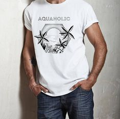 097e9a10b Aquaholic Unisex T-Shirt Beach shirt Surfing Tee Palm Tank Top Swimsuit,  Beach Shirts