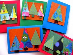 Colorful Christmas Tree Cards - christmas crafts for kids - Bing Images Christmas Art For Kids, Simple Christmas Cards, Homemade Christmas Cards, Preschool Christmas, Noel Christmas, Christmas Activities, Christmas Projects, Theme Noel, Xmas Crafts