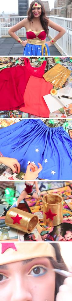 DIY Wonder Woman Halloween Costume + Makeup | Click Pic for 18 Easy DIY Halloween Costumes for Women | Last Minute Halloween Costumes for Girls