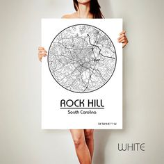 ROCK HILL South Carolina CANVAS Map Rock Hill South by ArchTravel