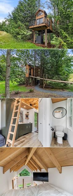 This tiny treehouse rental located on a wooded location in Chilliwack, British Columbia, Canada is a cool weekend getaway for couples. Entitled Birdhouse Retreat, it is crafted with the motive to provide guests with a serene place to relax and connect with nature. Since it is elevated from the ground, guests can fully enjoy the surrounding views from different parts of the treehouse.
