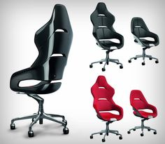 If office chair racing was a legit game, what better than to do it with Ferrari& new desk chair series? These superior looking chairs come from Leather Chair With Ottoman, Leather Dining Chairs, Office Gaming Chair, Office Chairs, Office Desks, Chair Design, Furniture Design, Ferrari, Queen Chair