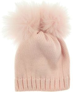 1eccd3e247d Catya Baby Girls Pink Wool Knit Hat With Double Rabbit Fur Pom Poms on  shopstyle.