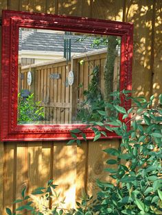 Mirror in garden. Fun!