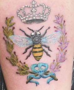 French bee tattoo: queen bee with laurel & lavender