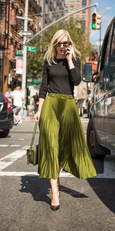 New Bohemian / Olive Pleated skirt & bag / NYFW.