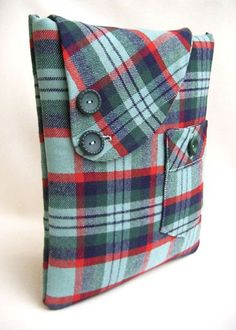 Repurpose flannel shirt into ipad or tablet sleeve cover