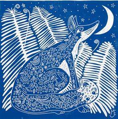linocut, printmaking, Fox print, Ferns, blue and white print, night art, moon and stars print, romantic art, animal print, wildlife print by linocutheaven on Etsy https://www.etsy.com/listing/182137348/linocut-printmaking-fox-print-ferns-blue