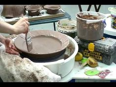 Large Platter with Slip Decoration on the Wheel - YouTube