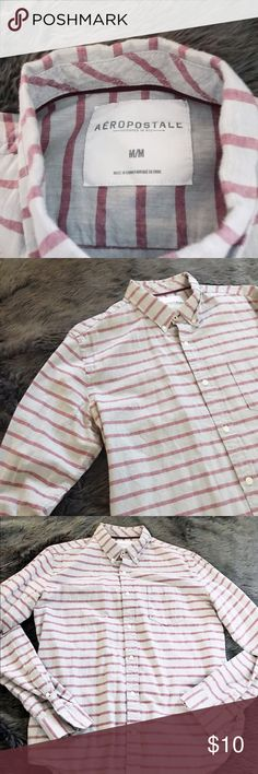 Aero Stripped Long Sleeve Button Up Used only twice - great condition  Red stripes, gray shirt Soft material  Fits M  Casual or dressy Aeropostale Shirts Dress Shirts