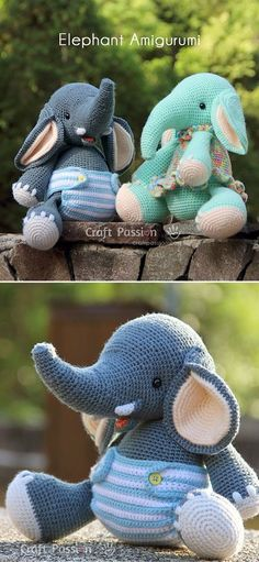 Cute Crochet Amigurumi Ideas. This cute and super huggable elephant is such a lovely idea for a gift for your friends, family and most importantly - kiddos! You can make one in any colors you want, and make a bunch of different clothes for it, so your kid could change their looks!  #freecrochetpattern #amigurumi #toy Crochet Elephant Pattern Free, Giraffe Crochet, Crochet Amigurumi Free Patterns, Crochet Animal Patterns, Stuffed Animal Patterns, Crochet Toys, Crochet Things, Baby Patterns, Crochet Gratis