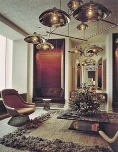 Preciously Me blog : Vintage living room with Warren Platner Chair for Knoll