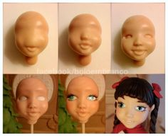 face sculpting tutorial at DuckDuckGo Fondant Figures Tutorial, Fondant Toppers, Fondant Flower Cake, Fondant Cakes, Fondant Bow, Marshmallow Fondant, Cake Decorating Techniques, Cake Decorating Tutorials, Doll Tutorial