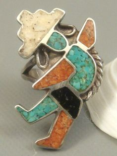 SIGNED ZUNI Old Pawn Sterling Silver & Multi Stone Inlay RAINBOW KACHINA Ring