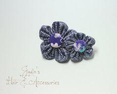 Kanzashi Flower French barrette hair clip  blue and by JigulinsHA, $8.95
