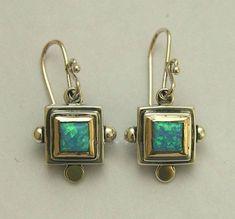 14k Gold Jewelry, Opal Jewelry, Jewelry Art, Jewelry Design, Square Earrings, Gemstone Earrings, Sterling Silver Earrings, Gold Earrings, 14 Carat